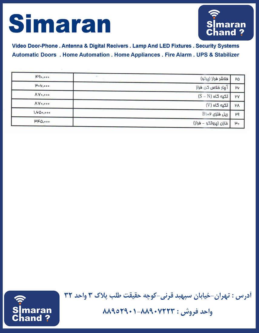 لیست قیمت درب اتوماتیک سیماران